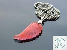 Cherry Quartz Gemstone Angel Wing Pendant Necklace Chakra Healing Stone