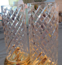 Waterford Crystal Wyndham Brass Base Hurricane Lamps