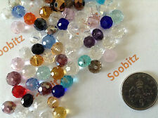 50x 6x4mm Faceted Crystal Glass Rondelle Beads - Assorted Colours