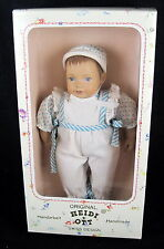 Heidi Ott Swiss Handmade Baby Boy Doll 8 in blue white outfit new in box