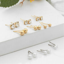 Women Fashion Gold Color Rhinestone Crystal Pearl Earrings Ear Stud Jewelry New
