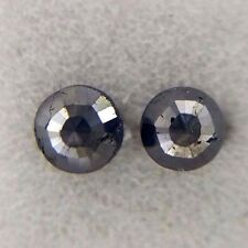 0.62TCW 3.7 MM Round rose cut Jet Black AAA Color Natural Loose Diamond Pair
