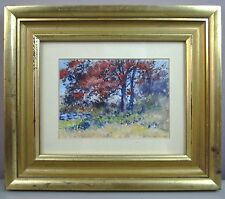 ROBERT H PAGE JR '37__Gouache/Watercolor__'Fence Corner'__Signed, ExC_SHIPS FREE