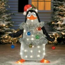 "37"" Lighted Tinsel Madagascar Penguin Outdoor Christmas Holiday Decor"