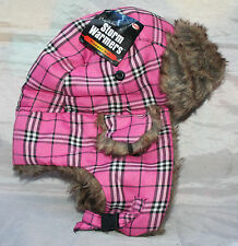 New Storm Warmers Trapper Hat in  Pink Plaid - lined with Faux Fur - Size 58