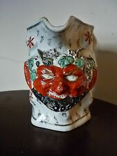 Rare antique Staffordshire horned  Bacchus pearlware jug c 1800-1810