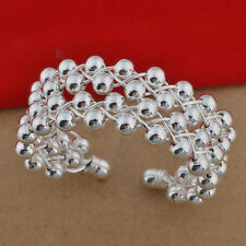 Womens 925 Sterling Silver Beads Ball Bangle Cuff Fashion Bracelet #B177