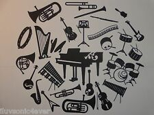 "27 different types of  musical instrument die cuts sizes range 1 1/2"" - 5 1/4"""