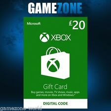 Xbox Live £20 Gift Card Points Pounds For Microsoft Xbox 360 / Xbox One