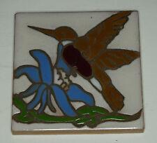 Art Tile Hummingbird Flower Trivet Ceramic Italy Italian
