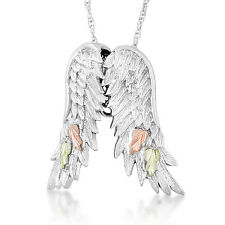 Black Hills Gold pendant angel wings womens ladies .925 sterling silver