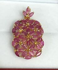 14k Solid Yellow Gold Rectangle Cluster Pendant, Natural Ruby 4.5CT