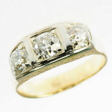 Antique Gents 1 1/2 Ct Cttw European Euro Diamond Three Stone Band Estate Ring