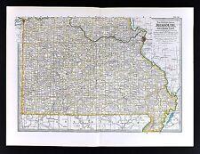 1898 Century Map S. Missouri St. Louis Springfield Branson Joplin Kennett Neosho