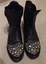 Zara Stunning Crystal Rhinestone Studded Ankle Leather Boots Blogger 6 39
