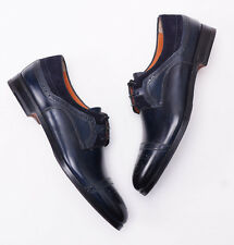 NIB $1075 SANTONI FATTE A MANO Antique Navy Blue Laceup Captoe US 6 D Shoes