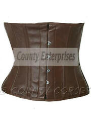 Cincher Shaper Taillen Waspie Steel Boned Waistbust Real Brown Leather Corset
