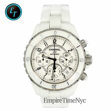 CHANEL J12 H1077 CHRONOGRAPH WHITE CERAMIC WHITE DIAL DATE AUTOMATIC MENS WATCH