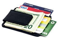 Black Genuine Leather Cowhide Magnetic ID Card Window Wallet Money Clip Mens