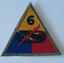 Patch US 6th armored division cut edge Normandie Bastogne  WWII - 100 % ORIGINAL