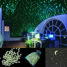 200pcs Glow In The Dark 3D Stars Moon Sticker Home Baby Kids Room Wall Decor DIY