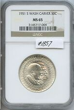 1951-S Wash/Carv 50C (#1857) NGC MS65. White. Check out the Photos.