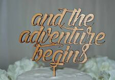 Rustic Wooden Cake Topper - And the Adventure Begins, Wedding, Engagment, Love