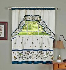 """Cheerful Love Birds 3 Piece Kitchen Curtain Set With Swag & 36""""L Tiers"""