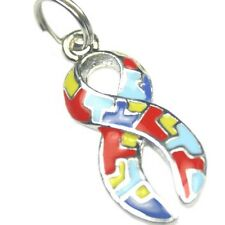 Autism Aspergers Awareness Puzzle Piece Ribbon Colorful Jigsaw Charms Lot of 10