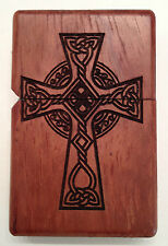 Bubinga Wood Lighter Case including Oil Lighter Celtic Cross Motif