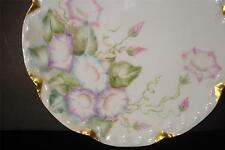 """LOVELY LIMOGES France DECORATIVE CABINET PLATE """"MORNING GLORIES"""" FLORAL Perfect"""