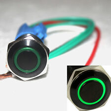 Black 16mm 12V Green Circel LED Latching on/off Push button switch W socket plug