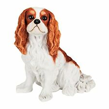 """Cavalier King Charles Spaniel Solid Hand Painted Dog Statue 5.6"""" Blenheim Color"""