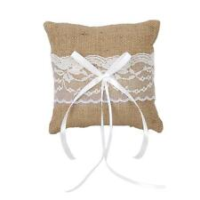 Burlap Lace Ribbon Rustic Wedding Ceremony Ring Pillow Bearer Cushion 6 inch