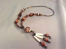 African-Arena Handmade Large Wood Beads Cow Bone Horn Beads Long Necklace AA-26