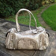 KATHY VAN ZEELAND Metallic Faux Snakeskin Handbag with Charms Sliver/Grey Used