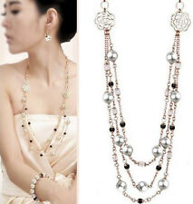 Charm Womens Retro Multilayer Crystal Pearl Necklace Pendant Long Sweater Chain