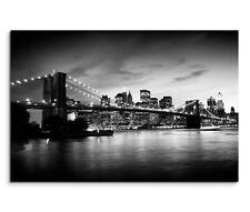 120x80cm Leinwandbild auf Keilrahmen New York Manhattan Brooklyn Bridge