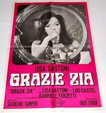 MANIFESTO 100 X 70 CM  ORIGINALE DEL  FILM GRAZIE ZIA 1968  ! RARISSIMO !