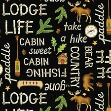 Lodge Life Bear Moose Words By the Yard Cotton FLANNEL print Red Rooster
