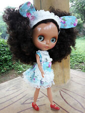 "12"" Neo Blythe Doll from Factory Nude Doll Tan Skin Black Mix Brown Curly Hair"