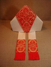 Bishop's Mitre, VESTMENT, 2 fabrics, Metallic Brocade, 4 heights, customed sized