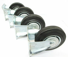 "5"" (125mm) Rubber Fixed Castor Wheels Trolley Furniture Caster (4 Pack) RM011"