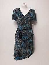 Women Dresses Connected Size 6 Peacock Short Sleeve Waist Tie MSRP 70.00