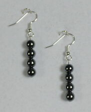 """EARRINGS- 6 MM SILVERY GRAY HEMATITE BEADS 1 3/4"""" -SILVER PLATED HYPOALLERGENIC"""
