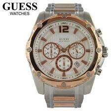 LATEST GUESS TWO TONE ROSE GOLD,SILVER CHRONOGRAPH DATE WATCH U0165G2+BOX