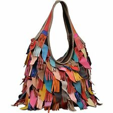 Womens Handbags Leather Multicolored Hobo Tassel Boho Hippie Tote Fringe Bag New
