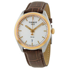 Tisot PR100 Chronograph Silver Dial Brown Leather Mens Watch T1014102603100