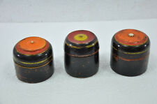 3 Pc Old Wooden Black & Orange Unique Dome Shape Handcrafted Kumkum Boxes