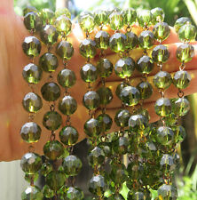 """12"""" glass bead strand prism faceted Peridot Green chain part brass lamp"""